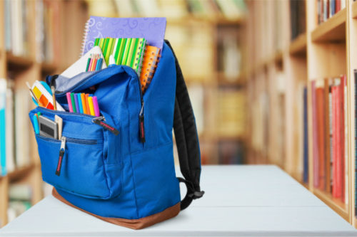 Back to school backpack with school supplies
