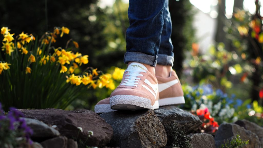 Pink sneakers with flowers